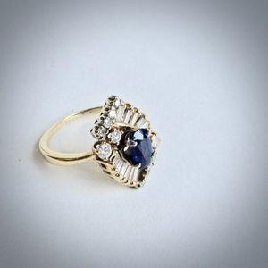 Jewelry - 14Kt Yellow Gold Diamond Blue Sapphire Ring